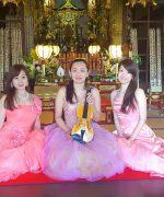 【 生演奏派遣事例】寺院本堂コンサート≪美女たちの音楽会≫ソプラノ、ピアノ、ヴァイオリンで癒しの空間を演出