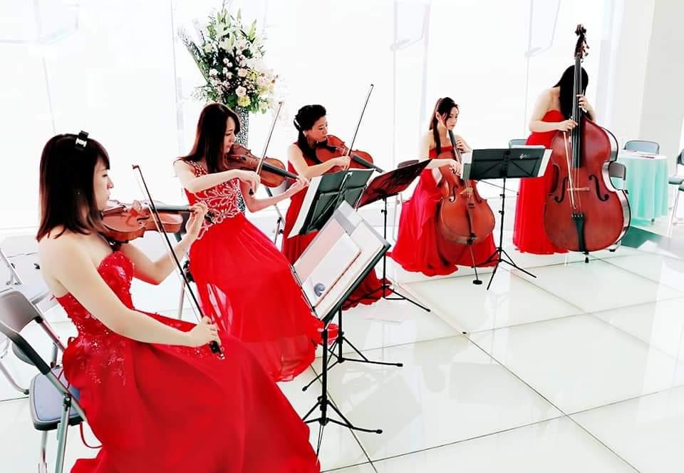 赤いドレスの弦楽五重奏